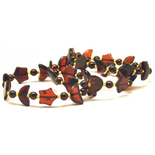 Amber bracelets | Lot of 3 cherry Baltic amber bracelets