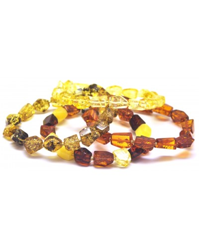 Lot of 4 faceted amber bracelets