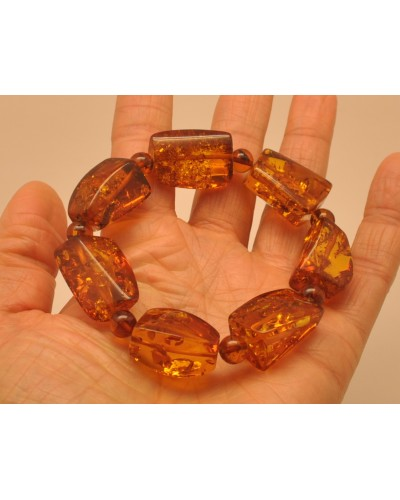 Cognac color amber beads bracelet