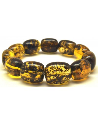 Green barrel shape Baltic amber bracelet
