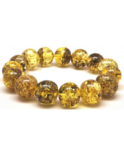 Green baroque beads Baltic amber bracelet