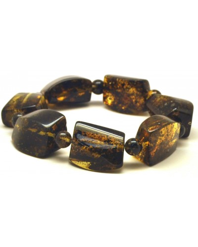 Green color amber beads bracelet