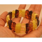 Faceted multicolor Baltic amber bracelet