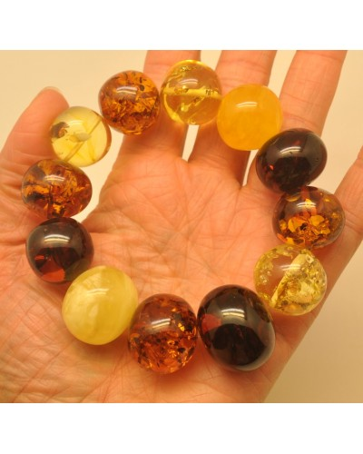 Multicolor baroque beads Baltic amber bracelet 58 g .