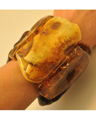 Massive natural shapes Baltic amber bracelet 250 g.