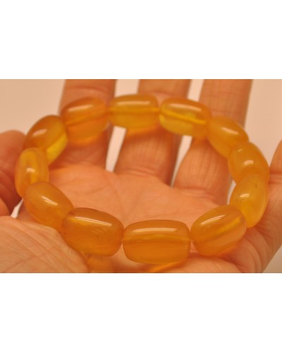 Antique barrel shape Baltic amber bracelet