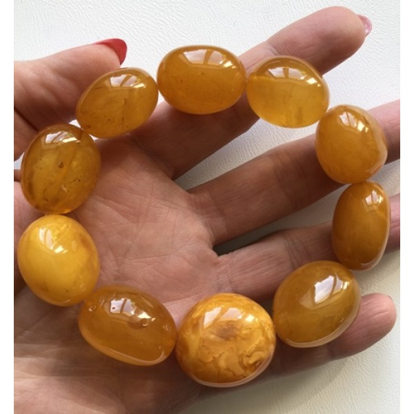 Big beads antique color amber bracelet-AB2688