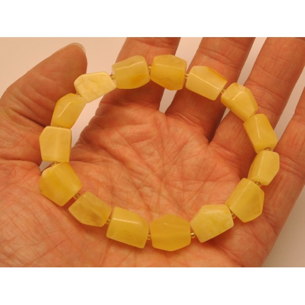 Faceted yellow beads Baltic amber bracelet-AB2740