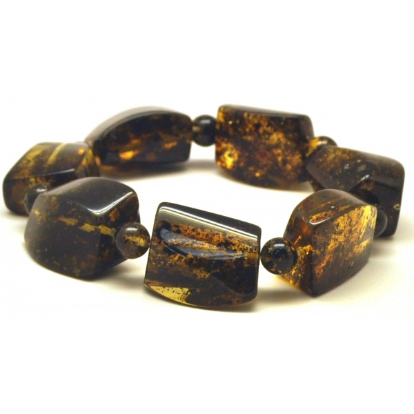 Green color amber beads bracelet-AB2721