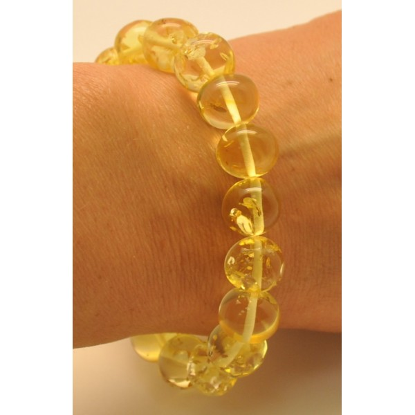 Lemon baroque beads Baltic amber bracelet-AB2678