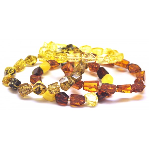 Lot of 4 faceted amber bracelets-AB2667