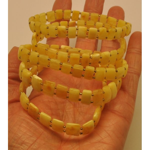 Lot of 5 elastic Baltic amber bracelets-AB2825
