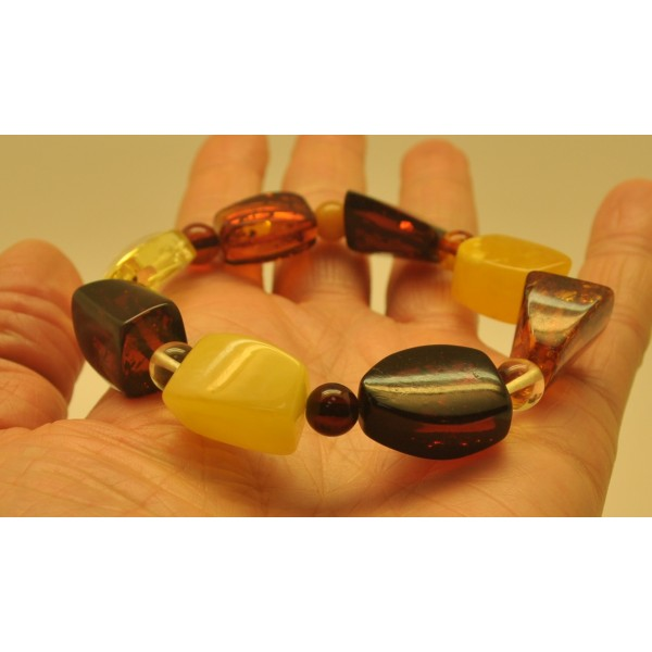 Multicolor amber beads bracelet-AB2695