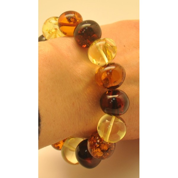 Multicolor baroque beads Baltic amber bracelet-AB2653