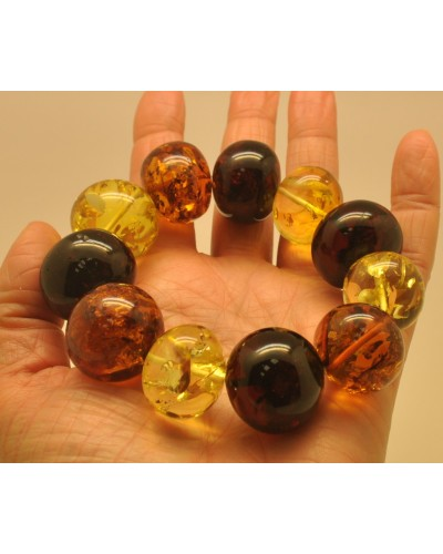 Massive multicolor baroque beads Baltic amber bracelet