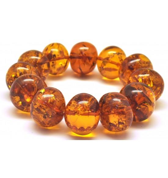 Massive cognac baroque beads Baltic amber bracelet 65 g .