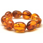 Cognac color amber beads bracelet