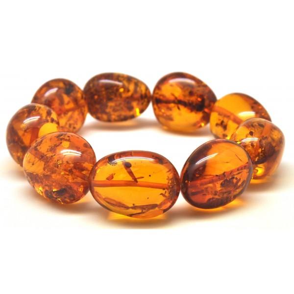 Amber bracelets | Cognac color amber beads bracelet