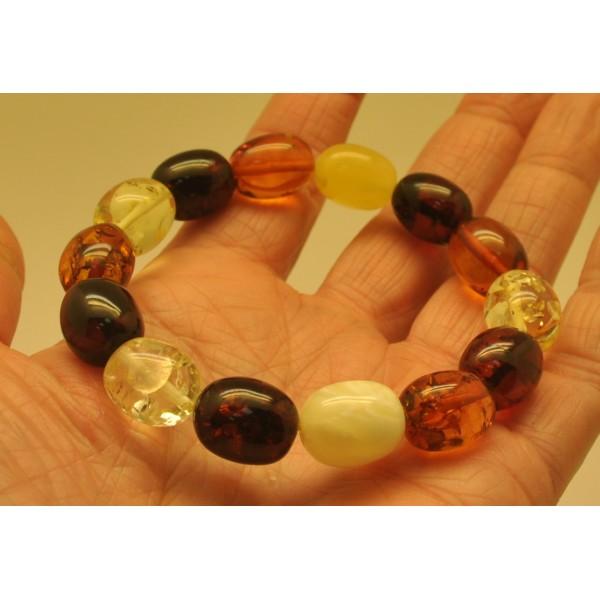 Multicolor olive shape Baltic amber bracelet