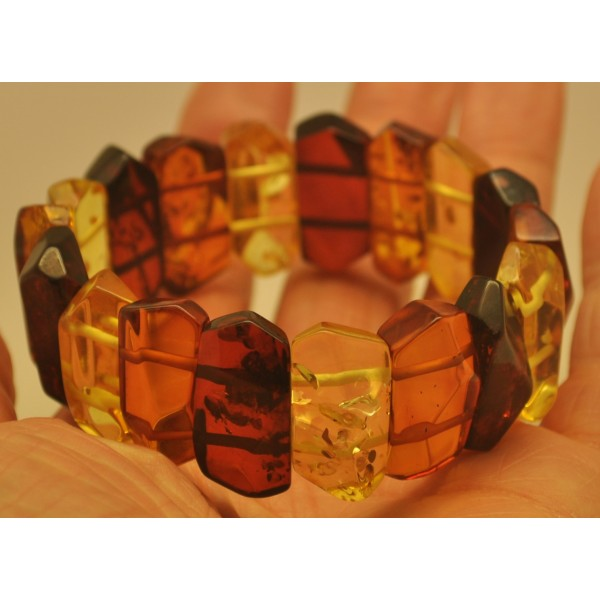 Amber bracelets | Faceted multicolor Baltic amber bracelet