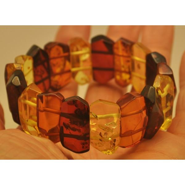 Faceted multicolor Baltic amber bracelet