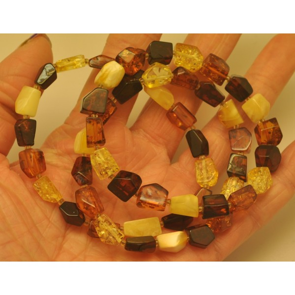 Amber bracelets | Lot of 3 faceted beads Baltic amber bracelets