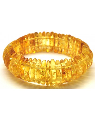 Transparent Baltic amber elastic bracelet