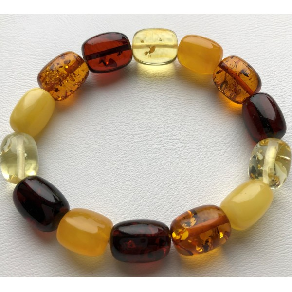 Amber bracelets | Multicolor barrel shape amber bracelet