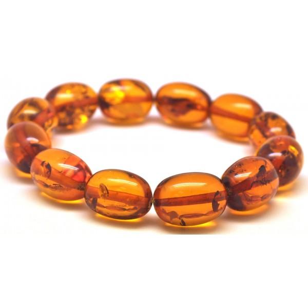 Cognac olive shape Baltic amber bracelet-AB2948