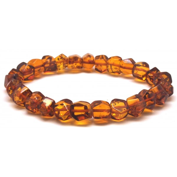Faceted beads Baltic amber bracelet-AB2957