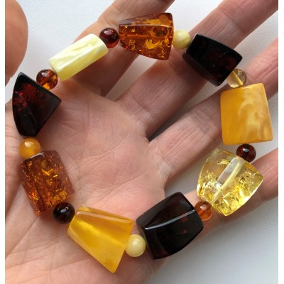 Faceted beads Baltic amber bracelet-AB2989