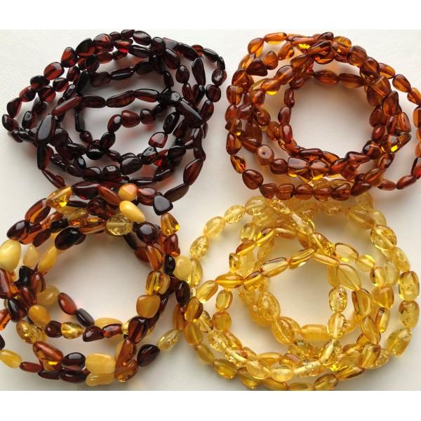 Lot 20 wholesale Natural Baltic amber bean adult bracelet -AB2992