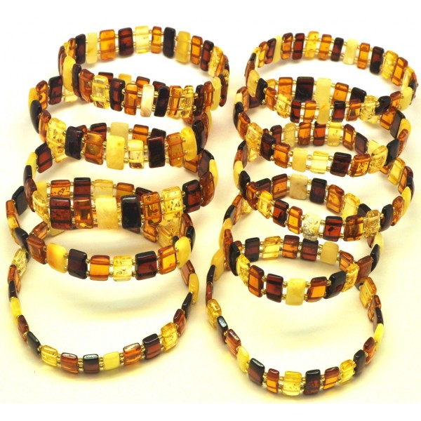 Lot of 10 elastic amber bracelets-AB2926