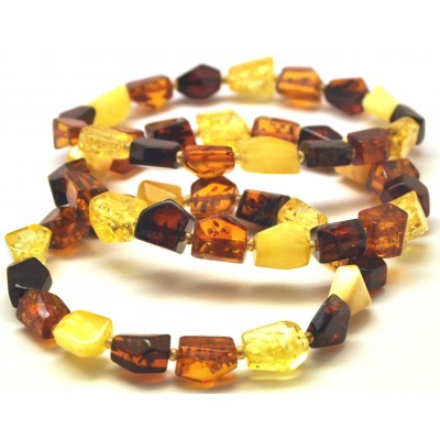 Lot of 3 faceted beads Baltic amber bracelets-AB2960