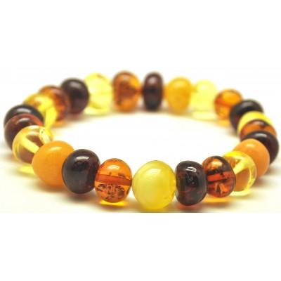 Multicolor baroque beads Baltic amber bracelet