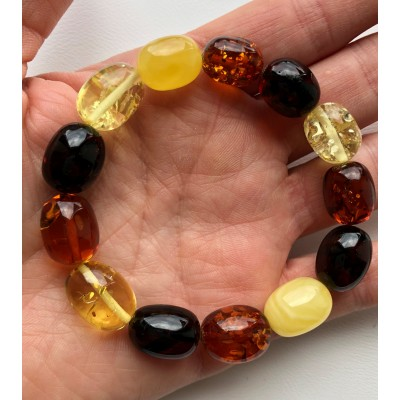Multicolor olive shape Baltic amber bracelet-AB2975
