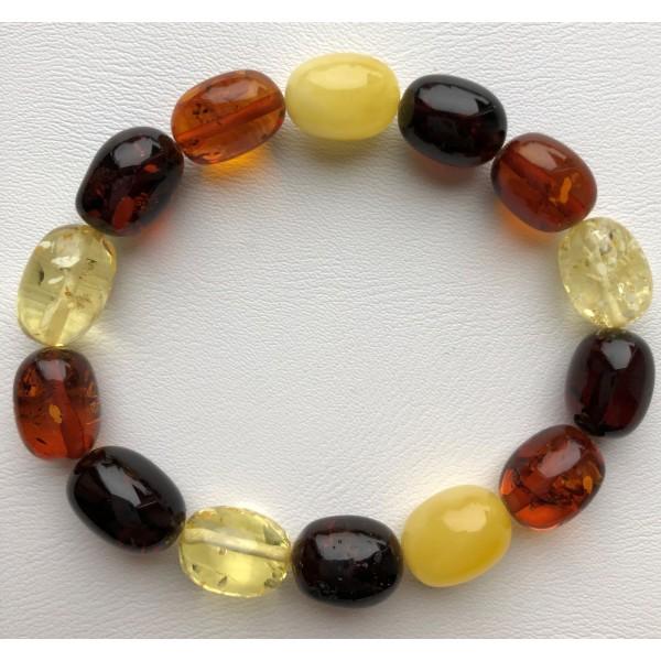 Multicolor olive shape Baltic amber bracelet-AB2979