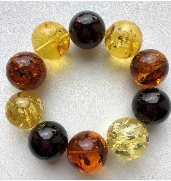 Round beads Baltic amber bracelet 23 mm.