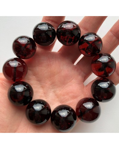 Cherry round beads Baltic amber bracelet  21 mm.