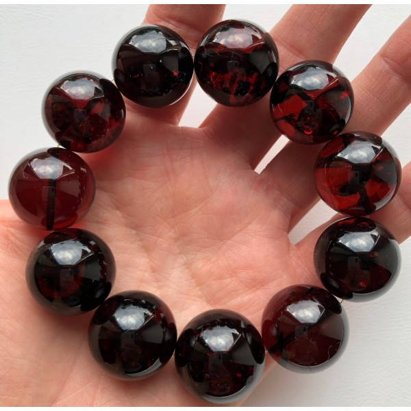 Cherry round beads Baltic amber bracelet  21 mm.