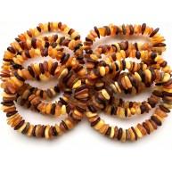 10 Raw multicolor Baltic amber chip bracelets