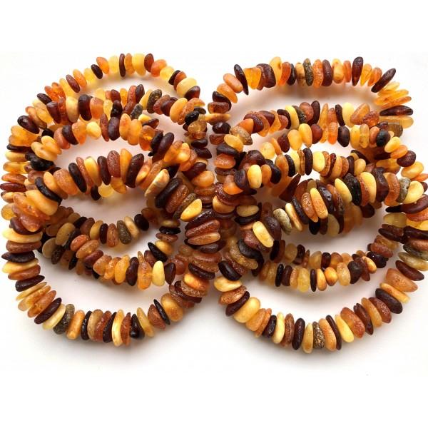 10 Raw multicolor Baltic amber chip bracelets -