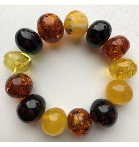 Massive baroque beads amber bracelet 51g .