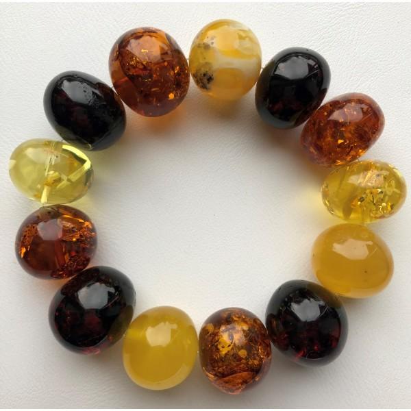 Amber bracelets | Massive baroque beads amber bracelet 51g .