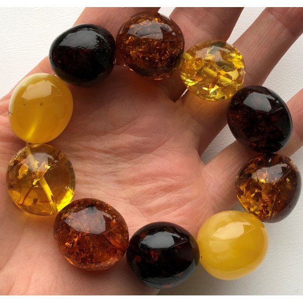 Big beads amber bracelet