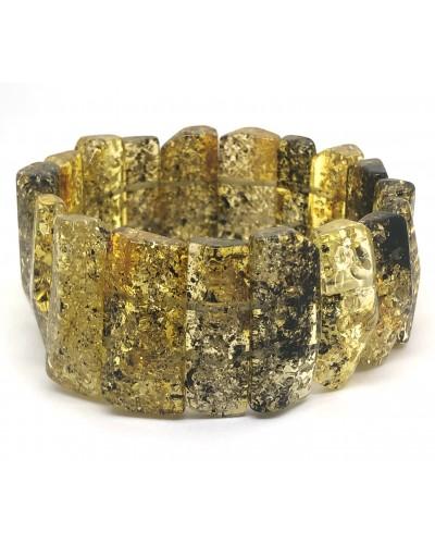 Faceted green color amber bracelet