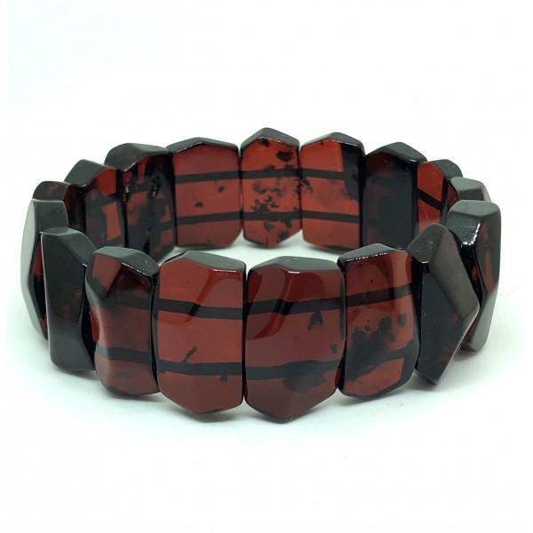 Amber bracelets | Faceted cherry color Baltic Amber bracelet