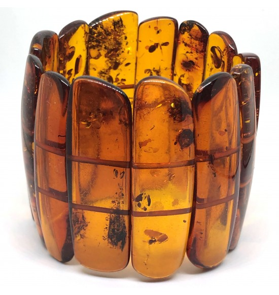 Large Glittering Pieces Genuine BALTIC AMBER Stretch Bracelet 80 g