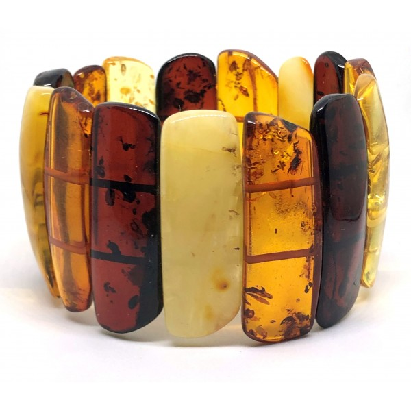 Large Glittering Pieces Genuine BALTIC AMBER Stretch Bracelet 56g