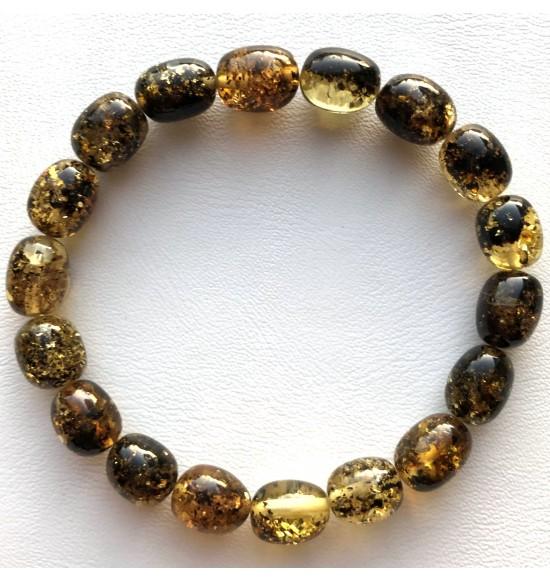 Green olive shape Baltic amber bracelet